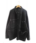 H BEAUTY&YOUTH(エイチ ビューティアンドユース)の古着「カウスウェードラバーカバーオール」|ブラック