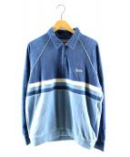Supreme(シュプリーム)の古着「Stripe Velour Raglan L/S Polo」|ブルー