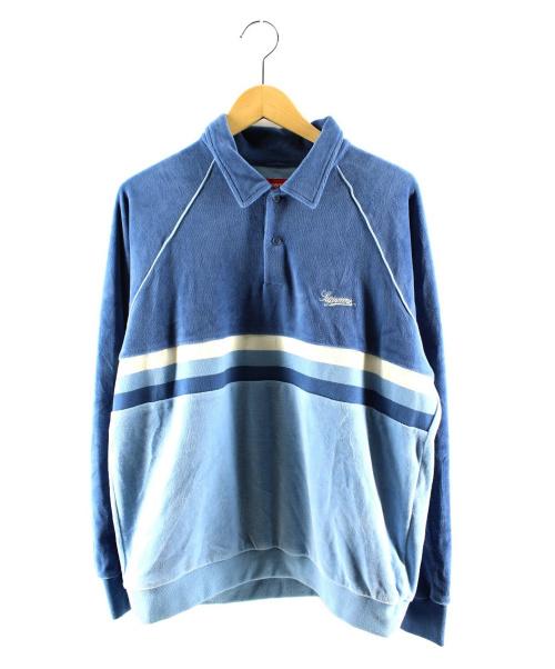 Supreme(シュプリーム)Supreme (シュプリーム) Stripe Velour Raglan L/S Polo ブルー サイズ:Mの古着・服飾アイテム
