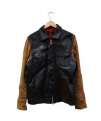glamb(グラム)の古着「切替ロッソライダースジャケット」 ネイビー×ブラック