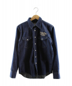 WACKO MARIA(ワコマリア)の古着「シュガースカル刺繍ウエスタンデニムシャツ」 インディゴ
