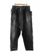 MIHARA YASUHIRO(ミハラヤスヒロ)の古着「フリンジデニムパンツ」|ブラック