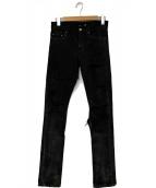 Saint Laurent Paris(サンローランパリ)の古着「デストロイ加工スキニーデニムパンツ」|ブラック