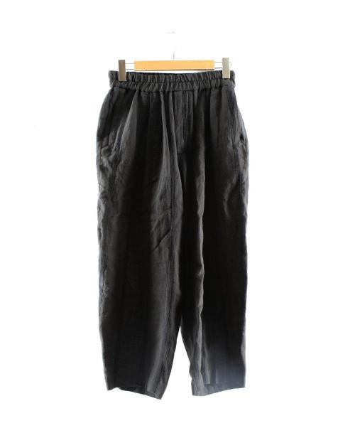 HAVERSACK(ハバーサック)HAVERSACK (ハーバーサック) リネン混ワイドパンツ ブラック サイズ:SIZE0の古着・服飾アイテム