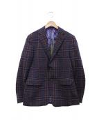 ETRO(エトロ)の古着「ウールチェックジャケット」|ネイビー×ブラウン