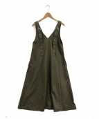 G.V.G.V(ジーヴイジーヴイ)の古着「TWIL LACE UP PINEFORE DRESS」 カーキ