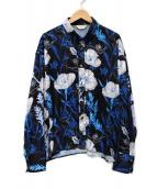 Jieda(ジエダ)の古着「フラワーパターンL/Sシャツ」 ブラック×ブルー