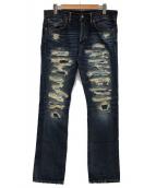 RRL(ダブルアールエル)の古着「クラッシュリペア加工デニムパンツ」|インディゴ