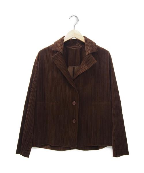 PLEATS PLEASE(プリーツプリーズ)PLEATS PLEASE (プリーツプリーズ) コーデュロイプリーツジャケット ブラウン サイズ:3の古着・服飾アイテム
