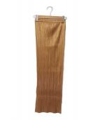 PLEATS PLEASE(プリーツプリーズ)の古着「プリーツスカート」 ゴールド