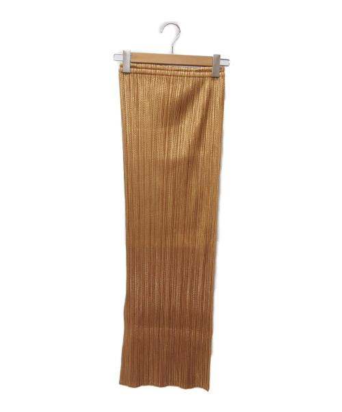 PLEATS PLEASE(プリーツプリーズ)PLEATS PLEASE (プリーツプリーズ) プリーツスカート ゴールド サイズ:3の古着・服飾アイテム