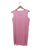 PLEATS PLEASE(プリーツプリーズ)の古着「ノースリーブプリーツカットソー」|ピンク