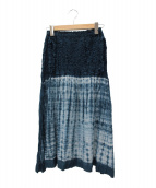 me ISSEY MIYAKE(ミーイッセイミヤケ)の古着「タイダイ染めスカート」|ネイビー