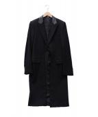 Dior Homme(ディオールオム)の古着「レザーカラーカッティングコート」|ブラック