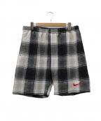 SUPREME × NIKE(シュプリーム × ナイキ)の古着「Plaid Sweat Shorts」|ブラック×グレー