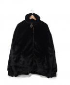 OY(オーワイ)の古着「ボスジッパーアンバランスロゴファージャケット」|ブラック