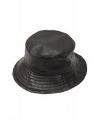 rin onffo(リン オンフ)の古着「レザーバケットハット」|ブラック
