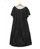 MERLETTE(マーレット)の古着「コットンスカラップスリーブドレス」|ブラック