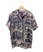 Acne studios(アクネストゥディオス)の古着「総柄リネンシャツ」|ネイビー