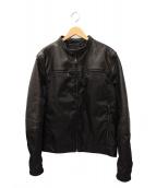 PRADA(プラダ)の古着「レザーナイロンコンビジャケット」|ブラック