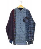 ()の古着「リメイクフランネルシャツ」|ブルー