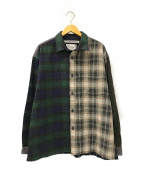 WHITE MOUNTAINEERING(ホワイトマウンテ二アニング)の古着「CONTRASTED BIG CHECK SHIRT」|グリーン