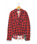 ()の古着「変形ウエスタンシャツ」 レッド
