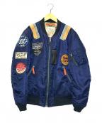 AVIREX(アヴィレックス)の古着「ワッペンフライトジャケット」|ネイビー