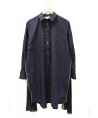 sacai(サカイ)の古着「サイド切替シャツワンピース」|ネイビー