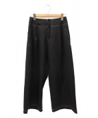 ()の古着「【古着】ウールギャバステッチパンツ」 ブラック