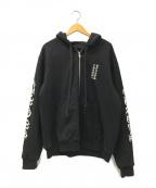 CHROME HEARTS(クロムハーツ)の古着「Letters Sleeve Fleece Zip Hood」|ブラック