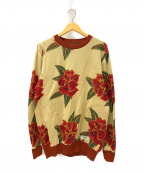 WACKO MARIA(ワコマリア)の古着「FLOWER JACQUARD SWEATER」|ベージュ