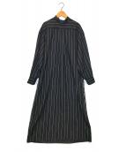 ()の古着「ウールスタンドシャツワンピース」|ブラック