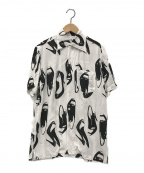 Aloha Blossom(アロハブロッサム)の古着「ハワイアンシャツ」 ホワイト×ブラック