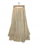 FRAY ID(フレイアイディー)の古着「シフォン楊柳シースルースカート」 アイボリー