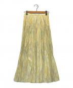 furfur(ファーファー)の古着「マーブル柄プリーツスカート」|イエロー