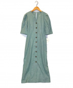 Lily Brown(リリーブラウン)の古着「衿付きVネックワンピース」 スカイブルー