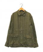 LARDINI(ラルディーニ)の古着「リネンシャツジャケット」 カーキ