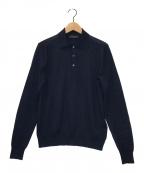 PRADA(プラダ)の古着「ニットポロシャツ」|ネイビー