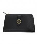 GIORGIO ARMANI(ジョルジオアルマーニ)の古着「レザー財布」 ブラック