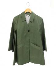 HANCOCK(ハンコック)の古着「ゴム引きハーフコート」 オリーブ