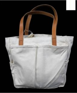 JOSHU+VELA(ジョシュ+ベラ)の古着「レザー切替キャンバストートバッグ」|ホワイト×ブラウン