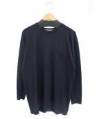 JOHN SMEDLEY(ジョンスメドレー)の古着「Pocket Sleeve Knit」|ネイビー