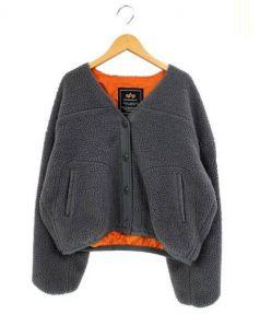 ALPHA(アルファ)の古着「ボアVネックショートブルゾン」|グレー×オレンジ