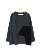 YuumiARIA(ユウミアリア)の古着「パッチワークウールプルオーバー」 ブラック