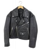 JEANASIS(ジーナシス)の古着「ラムレザーダブルライダースジャケット」|ブラック