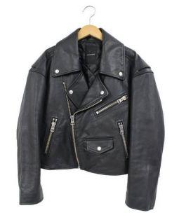 JEANASIS(ジーナシス)の古着「ラムレザーダブルライダースジャケット」 ブラック