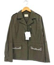 Rose Tiara(ローズティアラ)の古着「ビジュー付ミリタリージャケット」 オリーブ