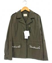 Rose Tiara(ローズティアラ)の古着「ビジュー付ミリタリージャケット」|オリーブ