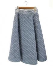 GANNI(ガニー)の古着「キルティングロングスカート」|ライトブルー